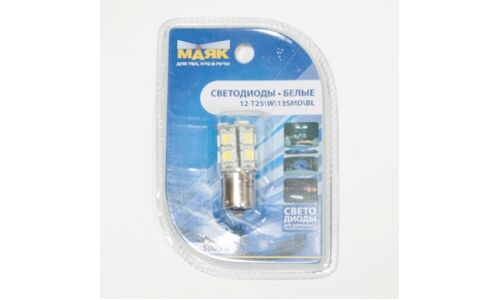 "Лампа светодиод цок. ""Маяк"" 12v T25 BA15S 13SMD, белый"