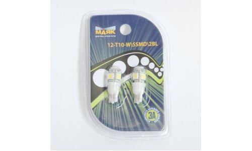 Лампа светодиод б/ц Маяк 12v T10 w2.1x9.5d 5SMD, белый, (уп. 2шт.)