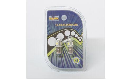 Лампа светодиод цок. Маяк 12v T8 BA9s 4SMD, белый, (уп. 2шт)