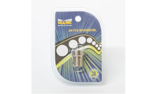 Лампа светодиод цок. 'Маяк' 24V T15 4SMD BA15S, белый