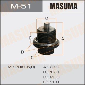 """Болт маслосливной с магнитом """"""""Masuma""""""""  Subaru  20х1.5mm"""