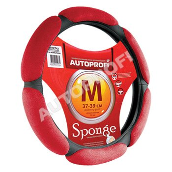 Оплётка 'AUTOPROFI', экокожа, 6 'подушечек' из алькантары, черный/красный, размер М
