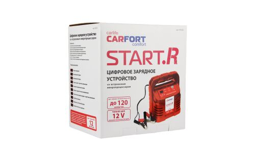 Устройство зарядное Carfort Start.R, цифровое, с гнездом прикуривателя, 12В, до 120Ач, ток пуска 1-3.5А, арт. CFS-120