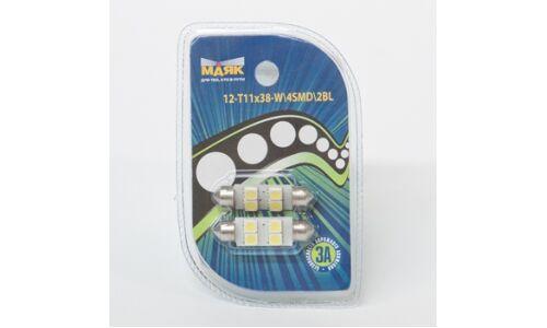 Лампа светодиод салон Маяк 12v T11x38 S8.5 4SMD (5.0x5.0), белый, (уп. 2шт)