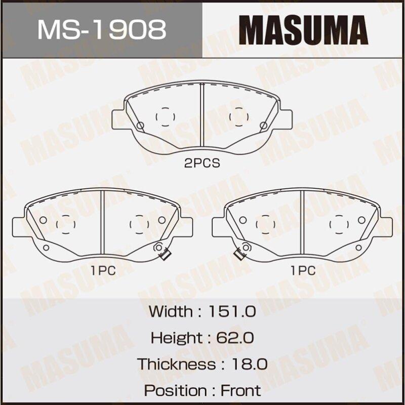 Колодки тормозные Masuma дисковые, передние, арт. MS-1908