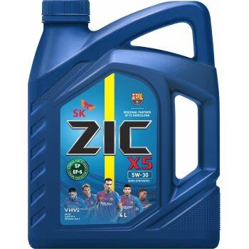 Масло моторное  ZIC X5  5w30  SN/GF-5 полусинтетическое, для бензинового двигателя 4л