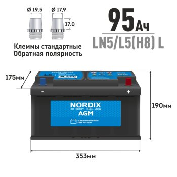 "Аккумуляторная батарея ""NORDIX"" AGM 95 А/ч, CCA 850А, L 353*175*190 (аналог Bosch S-6013)"