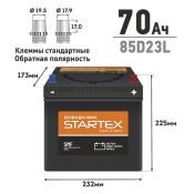 Аккумулятор Startex 85D23L, 70Ач, CCA 590А, необслуживаемый