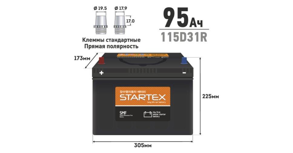 Купить Аккумулятор Startex 115D31R, 95Ач, CCA 750А, необслуживаемый SMF115D31R. Доступные цены, отзывы, характеристики, фотографии в интернет-магазине Гиперавто