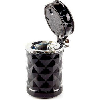 Пепельница стакан с подсветкой, черная с ромбовидными гранями