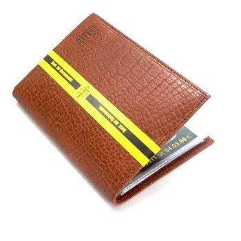Бумажник водителя 6 карманов (д/пасп.),уменьш.р-р (кожа коричн. с тиснением) /тоже черн. с тиснением
