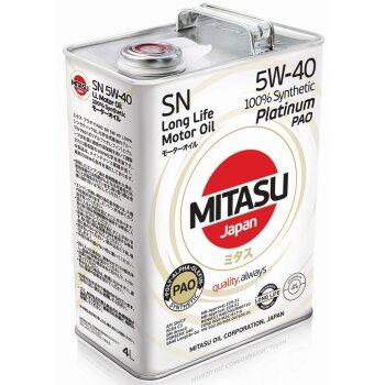 Масло моторное  Mitasu PLATINUM PAO  5w40  SN  синтетическое, для бензинового двигателя 4л