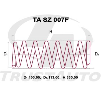 "Пружина """"TA"""" усиленная   ESCUDO TA02W,TD02W,TD32W,TD52W,TD62W 5DOOR, H27A (97-)/ TL52W H27A (02-05)"