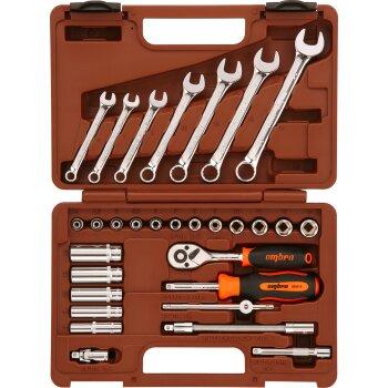 """Инструменты, набор """"""""Ombra"""""""" OMT30S 1/4"""""""". 30пр., головки, ключи"""