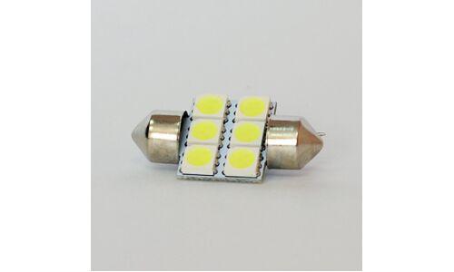 Лампа светодиодная Dsign T10x31, 12V, 0.6W, 6000K, 115lm, 6 светодиодов, 1 шт