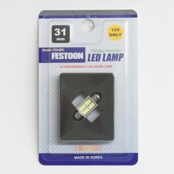 """Лампа светодиодная """"SOLARZEN"""" T10x31, 4 светодиода, обманка, белый"""