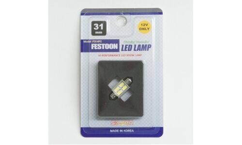 Лампа светодиодная 'SOLARZEN' T10x31, 4 светодиода, обманка, белый