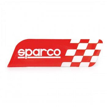 Эмблема с логотипом 'SPARCO', клеится на кузов а/м, флаг в шашечку, красный, 1/100