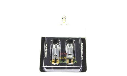 Лампы светодиодные Светофор Т10, 12V, 1.5W, 6000K, линза, 2 шт
