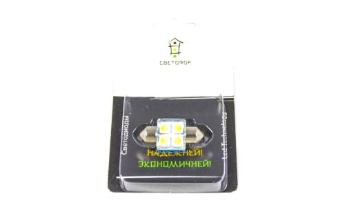 Лампа светодиодная 'СВЕТОФОР' Т11x31, 4 светодиода, белый