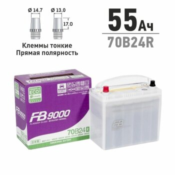 Аккумулятор FB 70B24R, 55Ач, CCA 500А, необслуживаемый